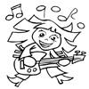 omalovánky - dívka hraje na kytaru